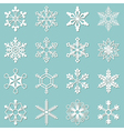 Collection of 16 different snowflakes vector image vector image