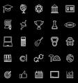 College line icons on black background vector image vector image