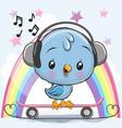 cute cartoon bird with skateboard vector image
