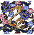 design clothers with snake and peony patch vector image