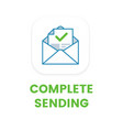 email complete sending flat icon email vector image vector image