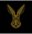 engraving stylized golden rabbit portrait on vector image vector image