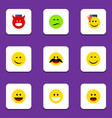 flat icon emoji set of grin laugh smile and vector image vector image