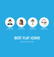 flat icon telemarketing set of hotline service vector image vector image