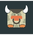 Flat square icon of a cute bull vector image vector image