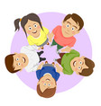 group of happy young students showing unity vector image