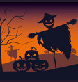 halloween card with scarecrow character vector image vector image