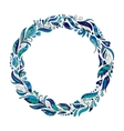 Hand drawn wreath with blue flowers and leaves vector image vector image