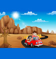 happy family traveling by red car vector image