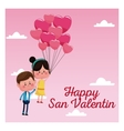 happy san valentine card couple branch balloons vector image vector image