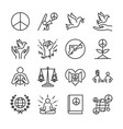 human rights line icon set vector image vector image