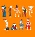 human skeletons set funny dead man cartoon vector image