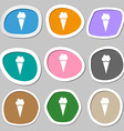 Ice Cream icon symbols Multicolored paper stickers vector image vector image