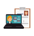 laptop computer and curriculum vitae vector image