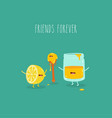 lemon spoon honey friends forever graphics vector image vector image