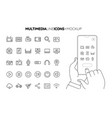 line multimedia icon set with line hands holding vector image vector image