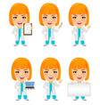 medical doctor woman set funny cartoon character vector image vector image