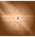 Orbital model of atom on brown background vector image