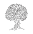 Page of coloring book with lace tree vector image