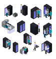 People in data center isometric set vector image