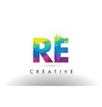 re r e colorful letter origami triangles design vector image vector image
