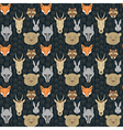 seamless pattern with animals and traces vector image