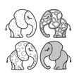 set of cute little elephant with ornaments hand vector image vector image