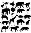 silhouette elephant bear eagle trot duck zebra on vector image