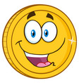 smiling golden coin cartoon character vector image vector image