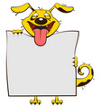 smiling yellow dog holding blank white sheet of vector image