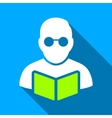 Student Reading Book Flat Long Shadow Square Icon vector image vector image
