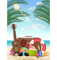summer vacation with travel bag on sea sand beach vector image