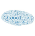 The History Of Chocolate text background wordcloud vector image vector image