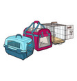three type of pet carrier transport bag plastic vector image vector image