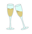 two tall glasses of sparkling wine champagne vector image