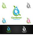 water gardener logo with green garden environment vector image vector image