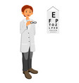 ophthalmologist doctor giving glasses vector image