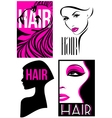 Womans hairstyle design Set of designs vector image