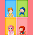background template design with happy muslim kids