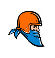 bandit biker wearing bandana and helmet mascot vector image