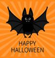 bat happy halloween cute cartoon character with vector image vector image