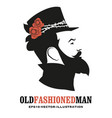 bearded man in old style wearing a top hat vector image vector image