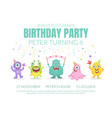 birthday invitation with cute monsters vector image vector image