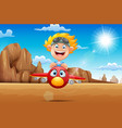 cartoon boy flying a plane in the desert vector image vector image