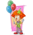 Cartoon happy redhead clown with balloons vector image vector image