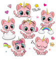 cartoon pink kittens unicorns isolated on a white vector image