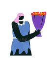 cartoon woman with bouquet flowers isolated vector image