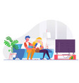 couple watching 3d movie on big tv vector image