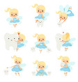 cute little tooth fairy with bateeth set vector image vector image