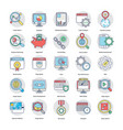 digital and internet marketing flat icons set vector image vector image